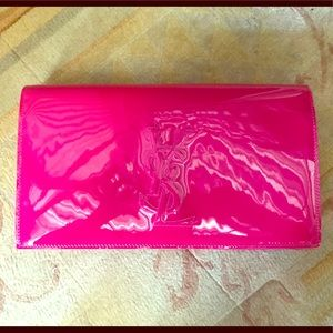 YSL pink patent leather clutch